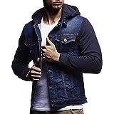 iHENGH Automne Hiver Veste À Capuche Vintage en Denim Veste en Denim Tops Manteau Outwear (FR-58/CN-2XL, Bleu)