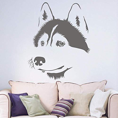 Husky Hond Siberische Woonkamer Raam Sticker Hallway Portret Thuis Sticker Verwijderbare Vinyl Wall Art Sticker57*72cm