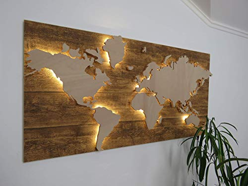 Holz Weltkarte mit LED Beleuchtung - 100 x 50cm, 3D Effekt, Handgefertigt, Wanddekoration