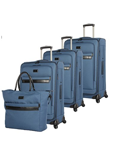 Nicole Miller New York Coralie Collection 4-Piece Luggage Set: 28', 24', 20' Expandable Spinners and Tote Bag (Blue, One Size)