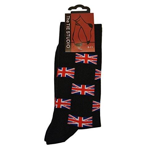 Drapeau Union Jack Pour Homme Chaussettes en coton majoritaire – Taille 6–11 – Noir