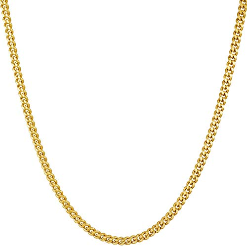Lifetime Jewelry 2.2mm Curb Link Chain Necklace for Women & Men 24k Gold Plated (22.0)