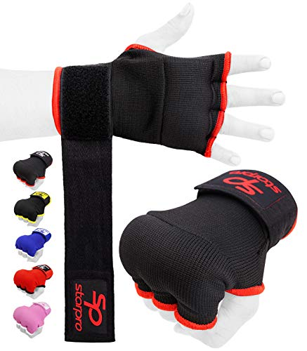Starpro Boxing Hand Wraps Elasticated - Inner Gloves Long Straps Wrist Support Fist Protector |Good for Muay Thai, MMA, Kickboxing, Sparring, Grappling, Exercise, Training, Punching Padded Mitts