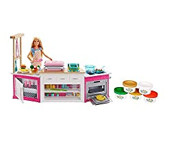 Kitchen with multiple role play areas feature a cooker/oven with working sounds and lights, sandwich maker, frying machine, mini-fridge and veggie food moulds Additional utensils included: Cookware, cooking and dining accessories and five colours of ...