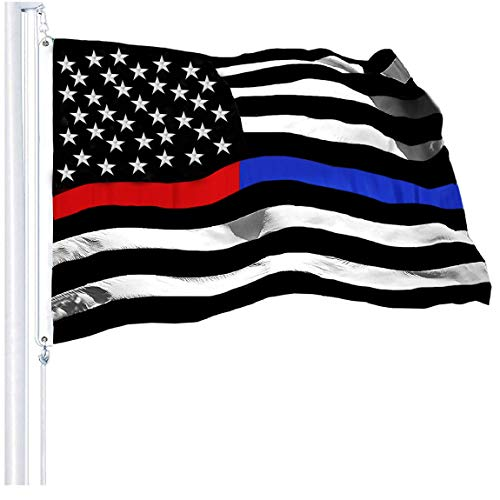 G128 - Thin Blue Line Police & Thin Red Line Firefighter Heavy Duty 220GSM Tough Spun Polyester Embroidered 3x5ft US American Flag Brass Grommets Honoring Law Enforcement Officers First Responder