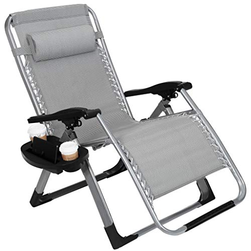 """22.8"""" Oversized Width Seat 350LBS Capacity Zero Gravity Outdoor Lounge Chair w/Cup Holder with Mobile Device Slot Adjustable Folding Patio Reclining Chair W/Snack Tray"""