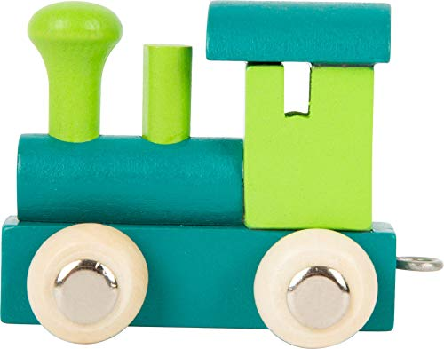 Buchstabenzug bunt | bunte Lok - farbige Waggons | Wunschname zusammenstellen | Holzeisenbahn | EbyReo® Namenszug aus Holz | personalisierbar | auch als Geschenk Set (Farbe Grün/Türkis, Lokomotive)