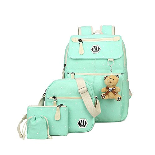 Fanci 4Pcs Polka Dot Women Canvas Daypack Casual School Bag for Girls Elementary Primary School Backpack Set with Lunch Bag
