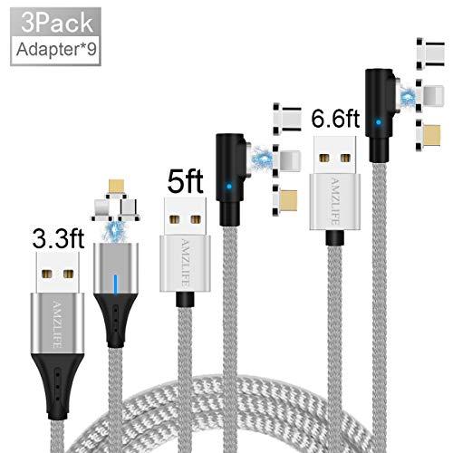 AMZLIFE Magnetisches USB Ladekabel,3-in-1[3Stück 3.3ft+5ft+6.6ft] Nylon geflochtenes 90 ° Ellenbogen Runde Magnet USB Kabel,für iProdukt/Micro USB/Type C/Samsung/Huawei/Xiaomi/Android Mehr(Silver)