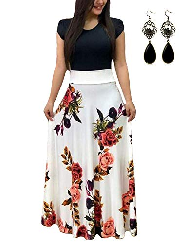 UUAISSO Sommerkleid Damen Lang mit Blüte Drucken Lang High Waist Elastische Strandkleider Maxikleider C-weiß-Kurzarm 2XL
