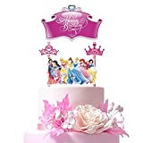 Decorations for Disney Princess Cake Topper Birthday Party Supplies Decor, Crown