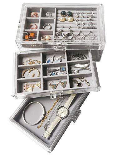 HerFav Schmuckkästchen mit 3 Schubladen, Schmuckbox aus Samt für Damen