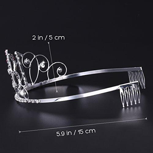 Frcolor Alles Gute zum Geburtstag 18. Silber Kristall Tiara Krone - 5