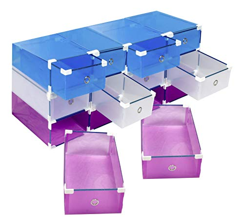 12 scatole resistenti +10% PVC salvaspazio porta scarpe (uomo, donna) MY BOX TO STORE contenitore in plastica trasparente, 3 colori (bianco, blu, viola) per migliorare l'organizzazione del tuo armadio
