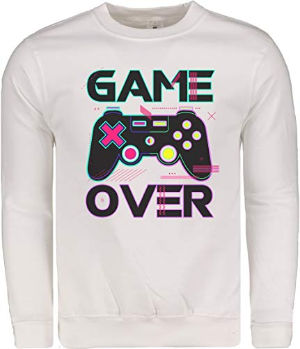 TeezoneDesign, Heren Sweater, Game Over Joystick Pc Games Grappig Ontwerp Kleding Kleding Lijn