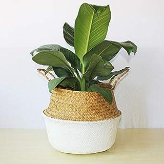 Home Storage Organisation Hand-Woven Foldable Plant Flower Pot Natural Woven Basket Toy Storage Basket Nordic Plant Plante...