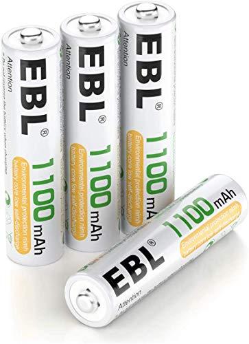 EBL AAA Batterie Ricaricabili Ad Alta Capacità,Pile Ricaricabili da 1100mAh Ni-MH con Astuccio Ricarica da 1200 volte,Confezione da 4 pezzi