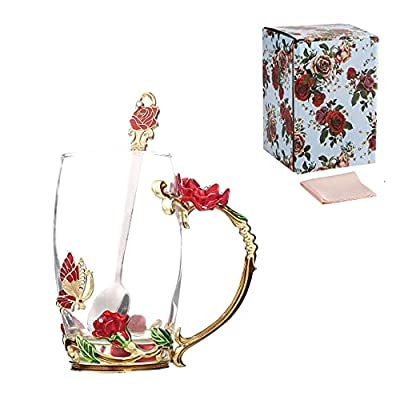 Handicraft Crystal Glass 3D Flower Cups Tea Mug With Tea Spoon Women Coffee, Tea, Juice, Beer, Milk Hot And Cold Drinks Use Gift Package. (Rose Red High Coffee Cup, 12 OZ)