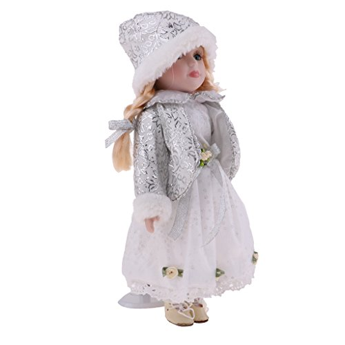 Baoblaze 30cm Mini Viktorianische Mädchen Porzellanpuppe Minipuppen mit Verstellbarer Metallständer Sammlerstück für Sammler - # D