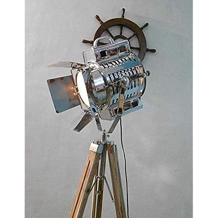 Details about  /Vintage Industrial Designer Tripod Floor Lamp nautical  marine Shade Lamp