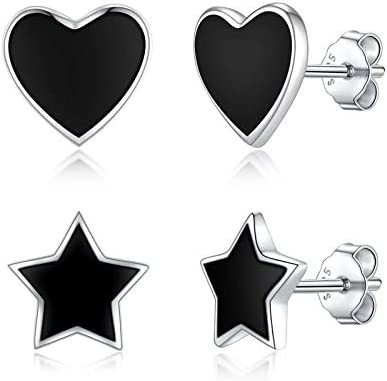 SisDruo Dainty Simple Heart and Lucky Star Stud Earrings Hypoallergenic 925 Sterling Silver product image