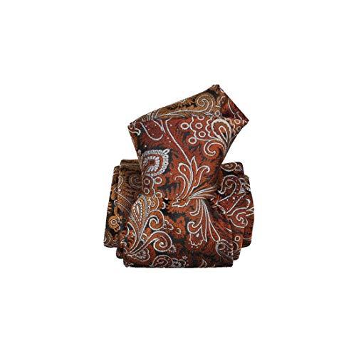 Segni et Disegni. Cravate artisanale. Toscana, Soie. Brun, Paisley. Fabriqué en Italie.