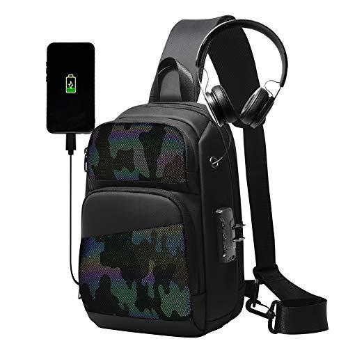 Anti-furto riflettente Sling Bag, impermeabile USB spalla zaino luminoso Crossbody borse per gli uomini Casual Daypack