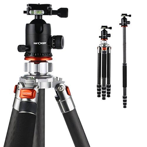 K&F Concept Treppiede Reflex Carbonio Monopiede Professionale Universale Testa a Sfera Colonna Ribaltabile 168cm per Canon Nikon Sony DSLR