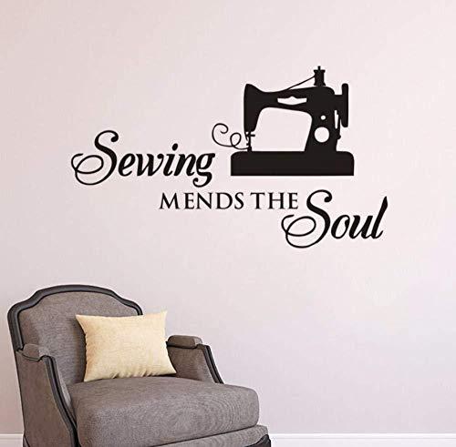 Nähmaschine Vinyl Wandtattoo Nähen repariert die Seele Wandaufkleber Stoff Schaufenster Poster Nähen Laden Dekoration 73 * 42cm