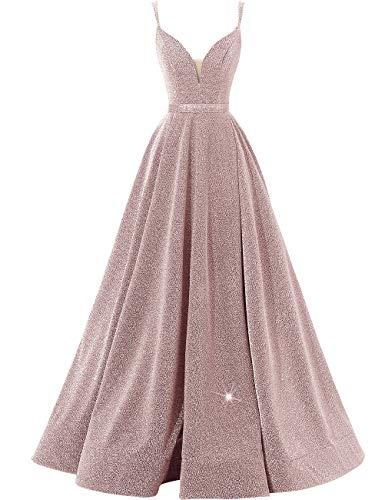 Women's Glittery Spaghetti V-Neck Prom Dresses Long Side Split Formal Evening Gowns(Blush,8)