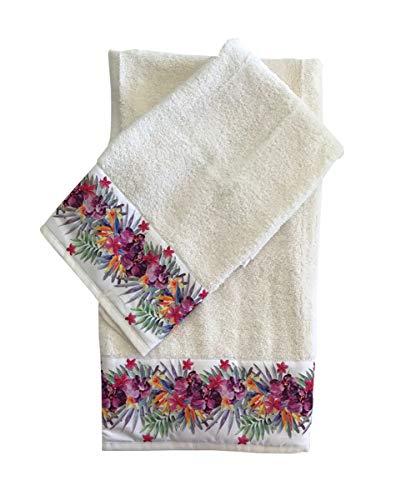 Par de toallas de baño de color liso y estampado de flores de rizo de algodón, 1 cara y 1 invitados, juego de toallas 1 + 1 fabricado en Italia, impresión digital Si raso de algodón (3)