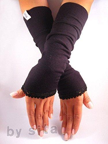 Armstulpen, lang - schwarz mit elastischer Borte