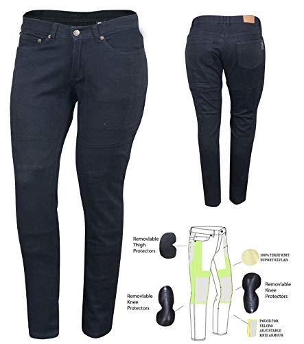 Bikers Gear Australia – Jeans de moto para mujer, CE Knee Armoured KEVLAR Stretch Denim, Negro, EU 40R, M