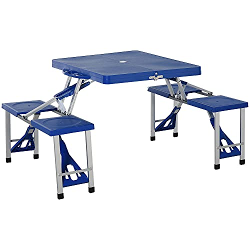 Outsunny Portable Foldable Camping Picnic Table with Seats Chairs and Umbrella Hole, 4-Seats Fold Up Travel Picnic Table, Blue
