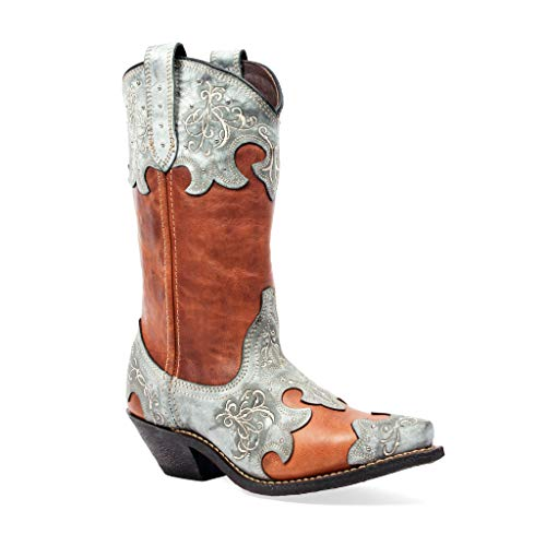 Masterson Boot Co. Snip Toe Cowboy (Brown and Blue, 5.5)