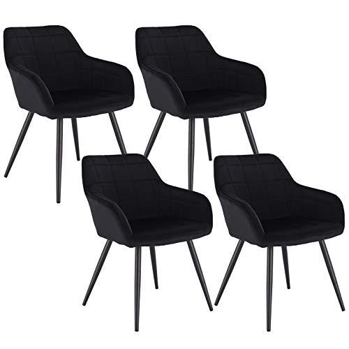 WOLTU 4 x Esszimmerstühle 4er Set Esszimmerstuhl Küchenstuhl Polsterstuhl Design Stuhl mit Armlehne, mit Sitzfläche aus Samt, Gestell aus Metall, Schwarz, BH93sz-4