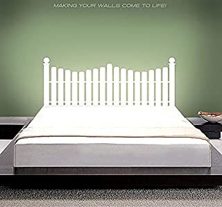 kiyogoods White Picket Fence Bed headboard Wall Decals in Full Size/Twin Size/King Size/Queen Size Custom Vinyl Wall Stickers (Picket Fence, Queen)