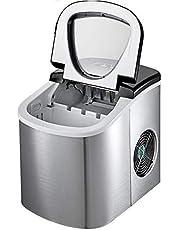 BuoQua Máquina de hielo de 12 kg / 24 h, compatible con AutoFill Silver Ice Maker 220 V, máquina de hielo comercial de escritorio, acero inoxidable