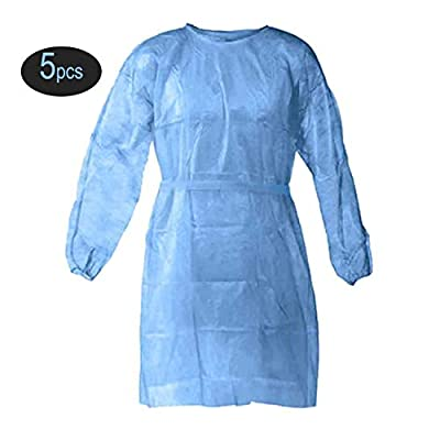 5 Pcs Medical Grade Level 2 Gown - Disposable Isolation Gowns with Elastic Cuffs, Protective Gowns with Long Sleeves, Neck and Waist Ties, Examination Gowns, Splash Resistant Protective Suit