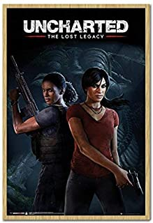 Uncharted The Lost Legacy Cover Poster Beech Framed & Satin Matt Laminated - 96.5 x 66 cms (Approx 38 x 26 inches)