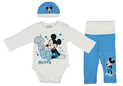 Disney Baby Mickey Mouse Jungen 3teiler Set mit Ohren-Mütze, unterschiedliche Modelle, in Größe 56 62 68 74 80 86, Baumwolle, Body, Hose und Mütze Farbe Modell 2, Größe 62