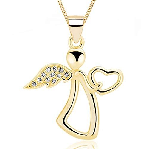 Engel Zirkonia Kette 925 Echt Silber Gelbgold rhodiniert Kinder Damen Mädchen Halskette Flügel (Z3-Gold)