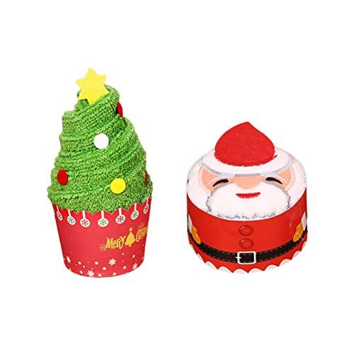 BESTOYARD Serviette de Noël gâteau de modélisation Coton Gant de Toilette Cadeau Chic pour décor de Noël 3Pcs (Arbre de Noël)