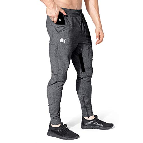 BROKIG Mens Thigh Mesh Gym Jogger Pants, Men's Casual Slim Fit Workout Bodybuilding Sweatpants with Zipper Pocket (Dark Gray, Medium)