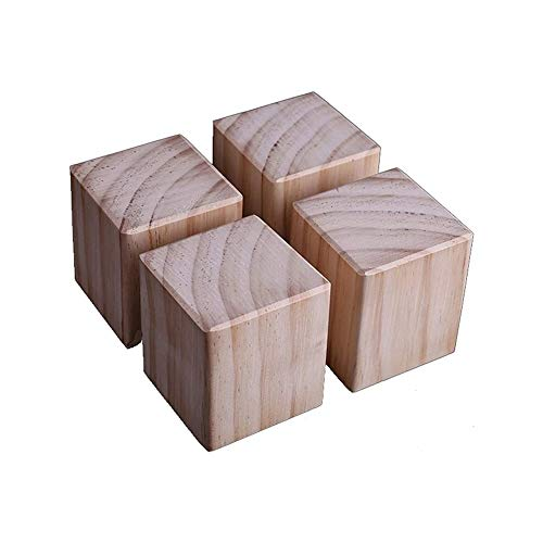 SHENMU 4 Piezas de Patas de Muebles de Madera Maciza, Patas de Mesa, Patas de Cama, Patas de Repuesto para sofá, fácil de Instalar, para Escritorio de Bricolaje, mesita de Noche, Mueble de TV