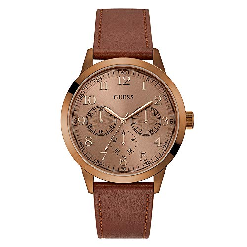 Guess Watches Men's Leather -Rose Gold Watch