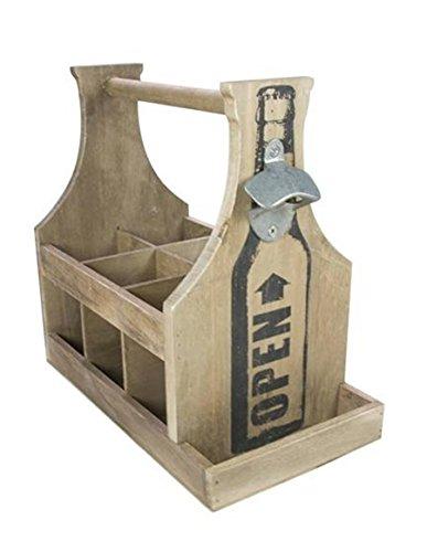 TxT Portabottiglie con manico in legno naturale per 6 bottiglie con apribottiglie Dim. 30x17x29h cm