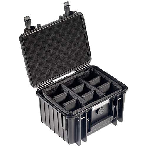 BundW Transportkoffer Outdoor Typ 2000 schwarz mit variabler Facheinteilung - wasserdicht nach IP67 Zertifizierung, staubdicht, bruchsicher & unverwüstlich