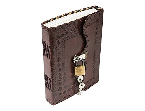 PRASTARA Genuine Leather Cover Lock Diary 200 Pages, 5 x 7 Inches (Brown)