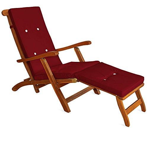Detex® Liegenauflagen Leinenoptik 8 Knöpfe Rückhalteband Auflagen Liege Polster Kissen Liegestuhl Rot